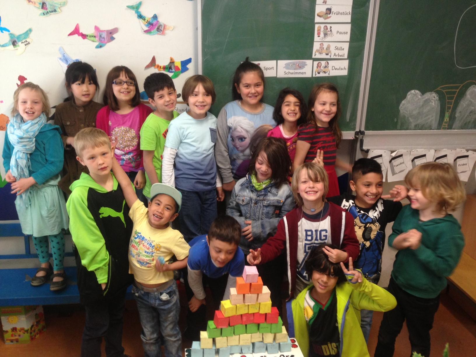 Ernährungspyramide mit Kindern
